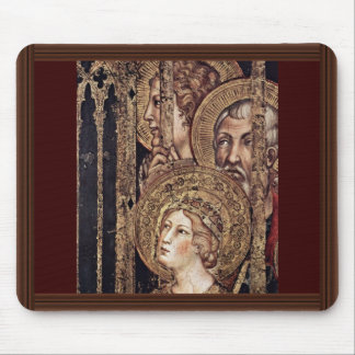 Maestà Madonna Enthroned As The Patron Saint Surro Mousepad