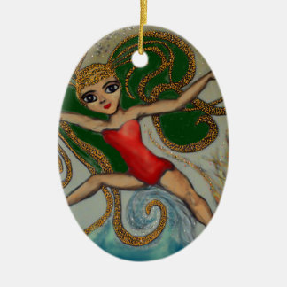 Maeve with Flame and Wave Christmas Ornament