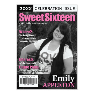 Magazine Cover Fuchsia Sweet Sixteen Invitations