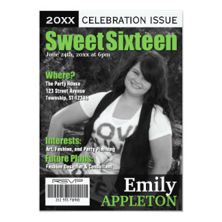 Magazine Cover Green Sweet Sixteen Invitations