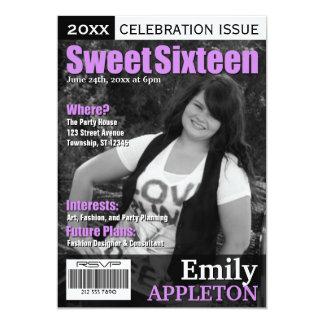 Magazine Cover Purple Sweet Sixteen Invitations