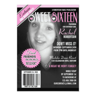 Magazine Cover Sweet 16 Party Invitation