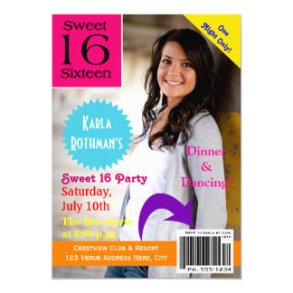 Magazine Cover Sweet Sixteen Invitation
