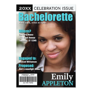 Magazine Cover Turquoise Bachelorette Invitations