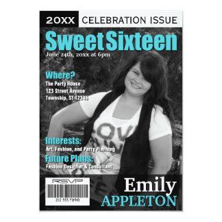 Magazine Cover Turquoise Sweet Sixteen Invitations