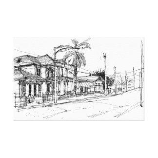 Magazine Street, New Orleans. Sketch Canvas Print