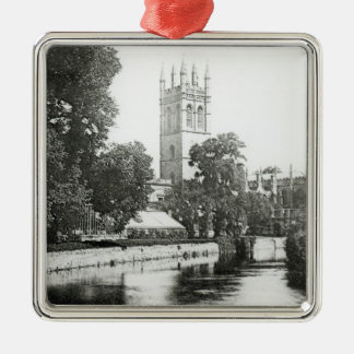 Magdalen College from the Cherwell Silver-Colored Square Decoration
