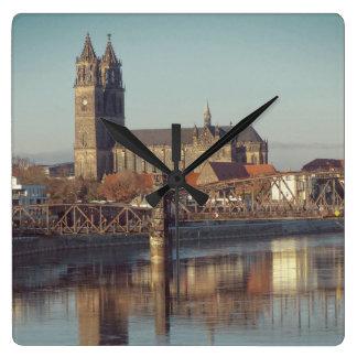 Magdeburg Cathedral with river Elbe 01.2.F Wallclocks