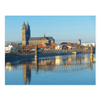 Magdeburg Cathedral with river Elbe 01.2 Postcard
