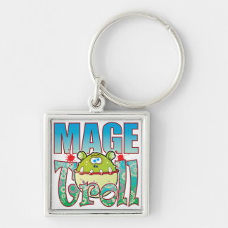 Mage Troll Silver-Colored Square Key Ring