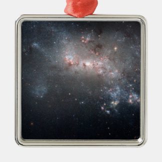 Magellanic dwarf irregular galaxy NGC 4449 Silver-Colored Square Decoration
