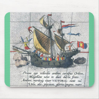 Magellan's ship a depiction from 1590 mouse mat