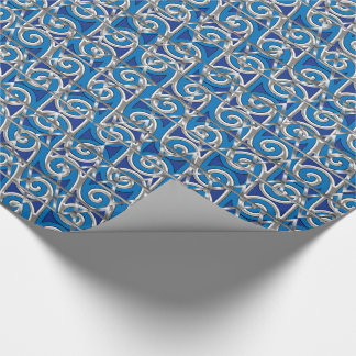 Magen David Swirl Blue and Silver Mosaic Wrapping Paper