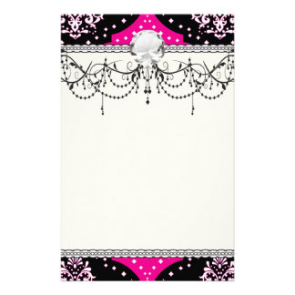 magent pink black white henna damask personalized stationery
