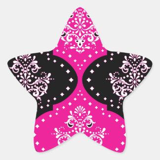 magent pink black white henna damask stickers