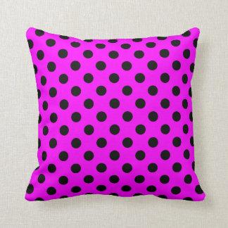 Magenta and Black Polka Dot Pillow