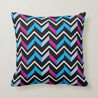 Magenta and Blue Chevrons on Black Cushion