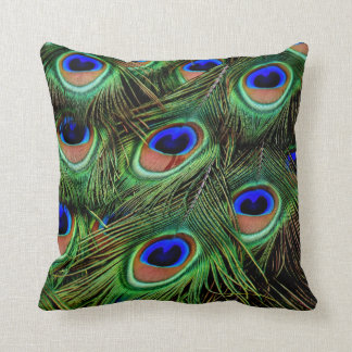 Magenta and Emerald Peacock Feather Throw Pillow