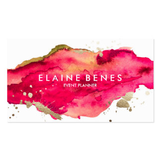 Magenta and Gold Splatter Business card