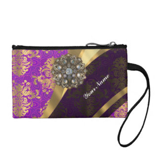 Magenta and gold vintage damask pattern coin purse