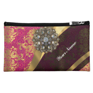 Magenta and gold vintage damask pattern cosmetics bags