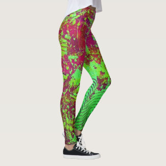 Magenta and Green Abstract Leggings