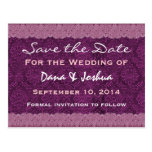 Magenta and Mauve Lace Save the Date Wedding V030