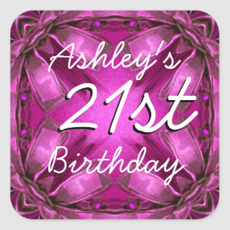Magenta and Pink Bows 21st Birthday Custom Name Stickers