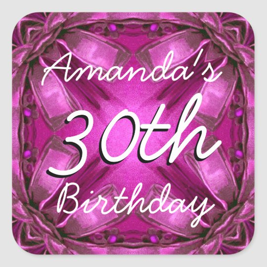 Magenta and Pink Bows 30th Birthday Custom Name
