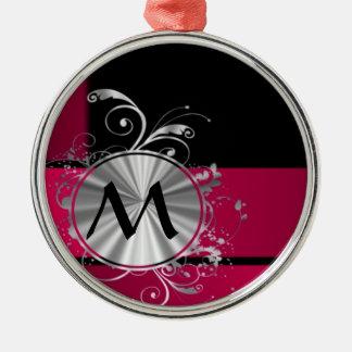 Magenta and silver monogram christmas ornament