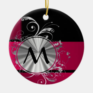 Magenta and silver pattern monogram christmas ornament