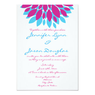 Magenta and Teal Flowers Wedding Invitations