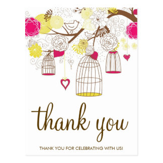 Magenta and Yellow Birdcages Thank You Postcard