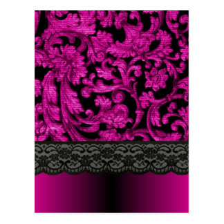 Magenta & black  lace pattern postcard
