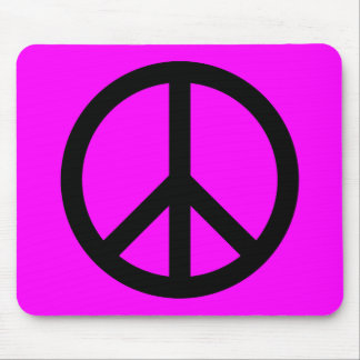 Magenta & Black Peace Sign Mouse Mat
