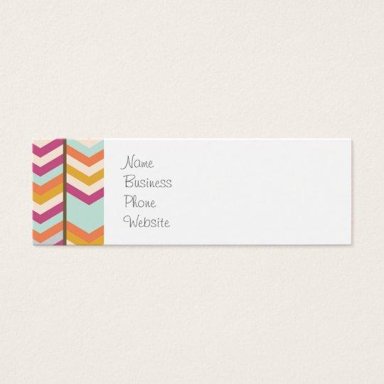 Magenta Blue Orange Gold Checks V Patterns Mini Business Card