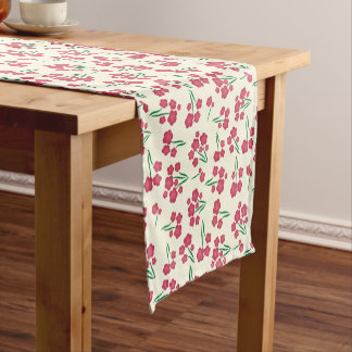 Magenta Bubble Flower Pink Flowers Spring Floral Short Table Runner