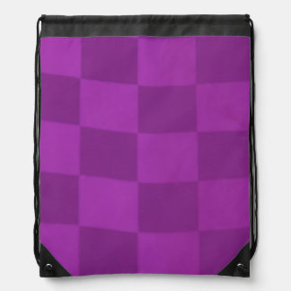 Magenta Checkered Flag Drawstring Backpack