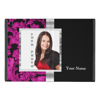 Magenta damask instagram photo template case for iPad mini