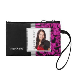 Magenta damask instagram photo template coin purse