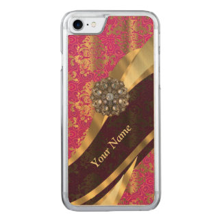 magenta damask pattern carved iPhone 8/7 case