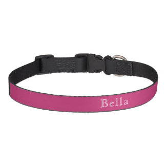 Magenta Dark Pink White Lettering Name Minimalist Pet Collar