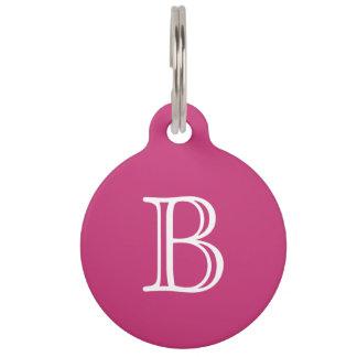 Magenta Dark Pink White Monogram Name Pet Tag