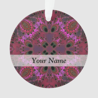 Magenta digital fractal pattern ornament