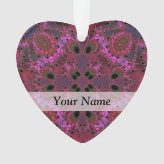 Magenta digital fractal pattern ornament