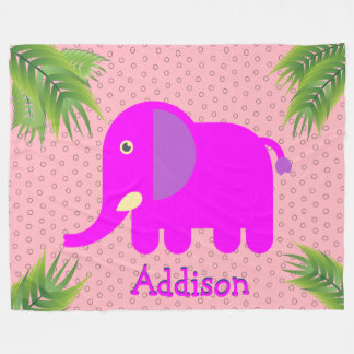 Magenta Elephant Personalized Custom Monogram Fleece Blanket