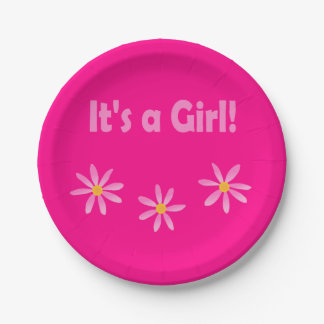 Magenta Floral Girl Baby 4Lucy Paper Plate