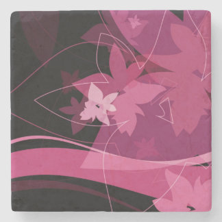 Magenta Floral Pattern Stone Coaster