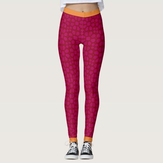 magenta flower print Woman's Leggings,Yoga Gym Leggings