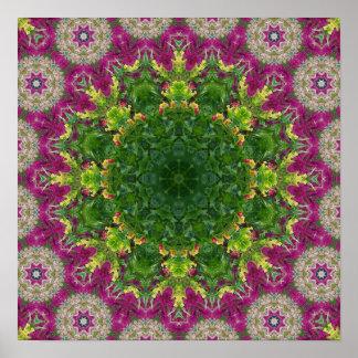 Magenta Flowers Circles Mandala Poster